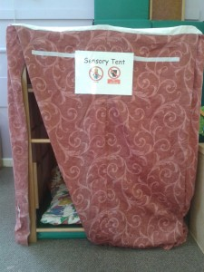 Children with sensory issues can take themselves into the sensory tent. Inside are cushions and a few sensory toys.
